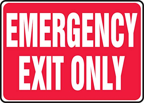 Accuform Signs MEXT586VS Adhesive Vinyl Safety Sign, LegendEMERGENCY EXIT ONLY, 7 Length x 10 Width x 0.004 Thickness, White on Red