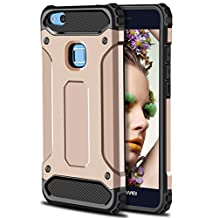 Huawei P10 Lite Case,Wollony Rugged Hybrid Dual Layer Armor Protective Back Case Shockproof Cover for Huawei P10 Lite - Slim Fit - Heavy Duty - Impact Resistant Bumper (Rose Gold)
