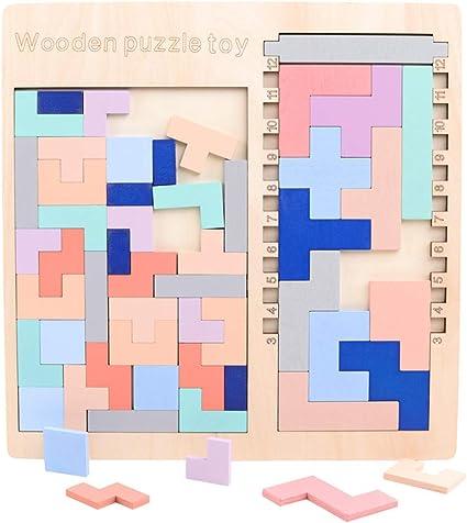 WOQOOK - Juego de mesa de madera 3 en 1, puzzle de tetris para niños: Amazon.es: Oficina y papelería