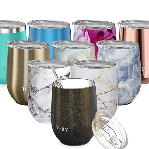 Stainless Steel Stemless Wine Glass - THILY Triple Vacuum Insulated Cute Travel Tumbler Cup with Spill Proof Lid, Reusable Straw, Keep Cold Hot for Wine, Coffee, Birthday Xmas Gift, Sparkle Black