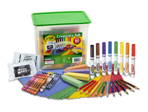 Crayola Creativity Tub, Over 80 Art Tools, Crayons, Markers, Colored Pencils Construction Paper and More, Makes a Great Gift (Plastic Colored Tubs)