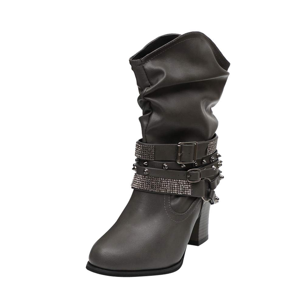 Women Short Boots, Mosstars Autumn Winter Outdoor Ankle Bootie Retro Buckle Solid Leather Party Footwear Heel Half Shiny Rivets Calf Walking Boot Shoes