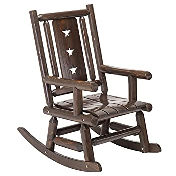 Wood Outdoor Rocking Chair Rustic Porch Rocker Heavy Duty Log Chair Wooden Patio Lawn Chairs Oversize Furniture for Adult