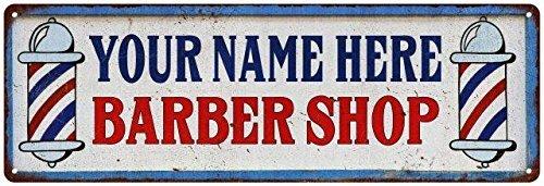 Your Name Barber Shop Vintage Look Reprodution Metal Sign 6x18 P6180735