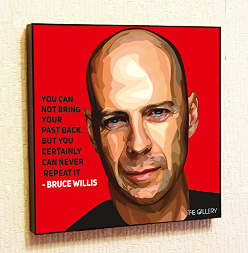 [Bruce Willis Cinema Artist Actor Decor Motivational Quotes Wall Decals Pop Art Gifts Portrait Framed Famous Paintings on Acrylic Canvas Poster Prints Artwork Geek Decor] (Ninja Turtle Face Painting)