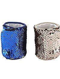 Mermaid Bracelet for Party Favors, Christmas Gifts, Two-color Reversible Charm Sequins Wristband Magic Calming Bracelets for Kids, Girls, Boys - Super-soft Velvet Lining (2Pack-D, velvet)
