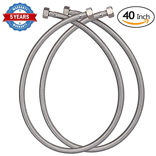 HOMEIDEAS 40-Inch Faucet Connector Braided Stainless Steel Supply Hose 3/8