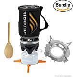 Jetboil Flash Personal Cooking System - Camping, Hiking, Backpacking (Carbon), Jetboil Stainless Steel Pot Support & Zonoz Wooden Stirring Spoon (Bundle)