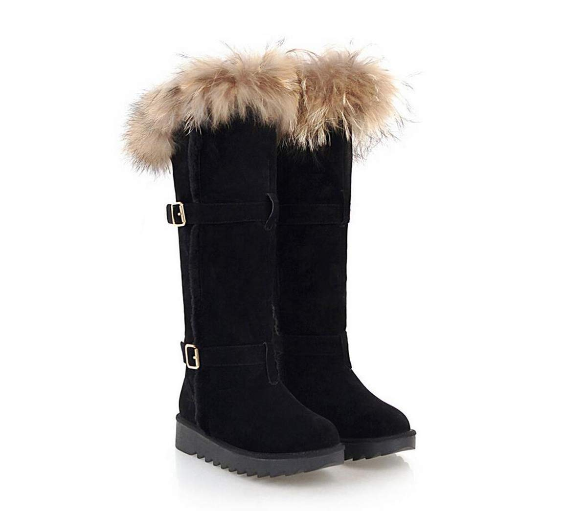 A Womens Boots Mid Calf Knee high Buckle Snow Boots Winter Warm Flat Heel Boots