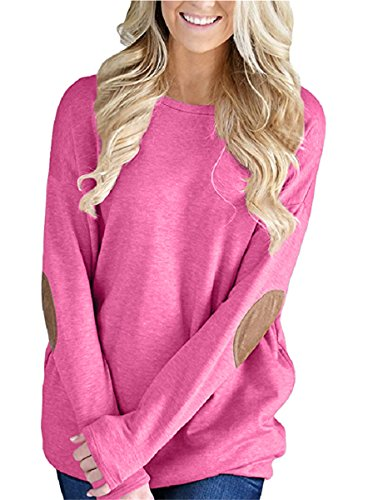 Unidear Womens Casual Solid Long Sleeve Crewneck Pullover