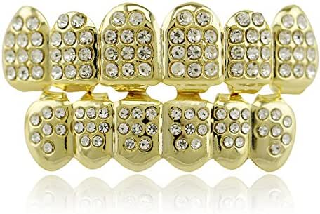 LuReen 14k Gold Plated Grills with Diamond Hip Hop Teeth Top and Bottom Set