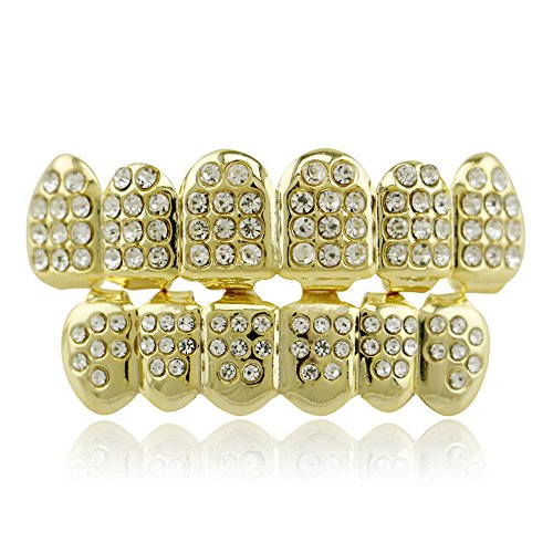 Lureen 14k Gold Plated Iced Out Grillz with Diamond Hip Hop Teeth Top and BottomSet (Gold) (Iced Out Teeth)