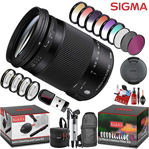 Sigma 18-300mm f/3.5-6.3 DC Macro OS HSM Contemporary Lens for Canon EF with 13 Piece Creative Filter Kit and a Heavy Duty Extra Padded Lens Case