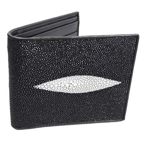 Classic Genuine Stingray Leather Bi-Fold Wallet w/ Left Flap (Black) ()