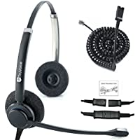 TruVoice HD-150 Professional Double Ear Noise Canceling Office/Call Center Headset With U10P Bottom Cable works with Mitel, Nortel, Avaya Digital, Polycom VVX, Shoretel, Aastra, Fanvil + Many More
