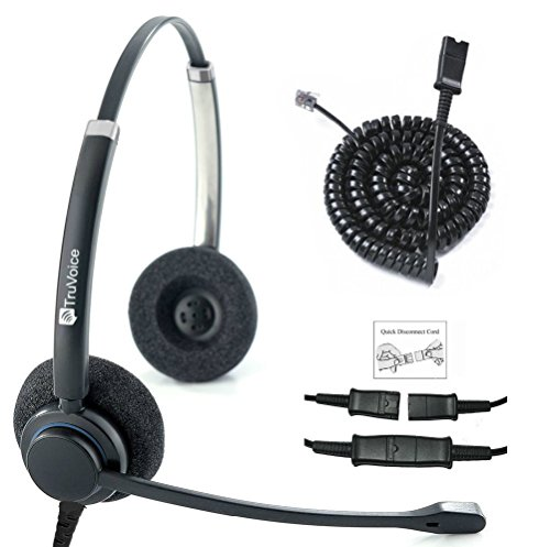 TruVoice HD-150 Professional Double Ear Noise Canceling Microphone Headset with U10P Bottom Cable Works with Mitel, Nortel, Avaya Digital, Polycom VVX, Shoretel, Aastra, Fanvil + Many More ()