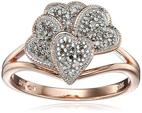 Nestled Hearts (Rose Gold Plated Sterling Silver Nestled Heart Diamond Ring (1/10cttw, I-J Color, I2-I3 Clarity), Size 7)