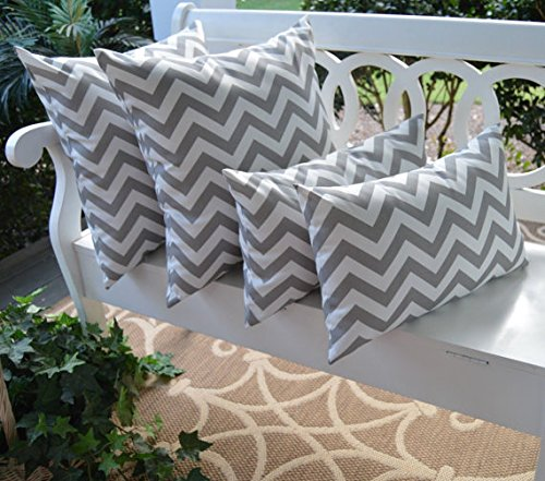 Set of 4 Pillow Covers - Gray / Grey and White Zig Zag Chevron 17'' Square & Rectangle Indoor / Outdoor Pillow Covers