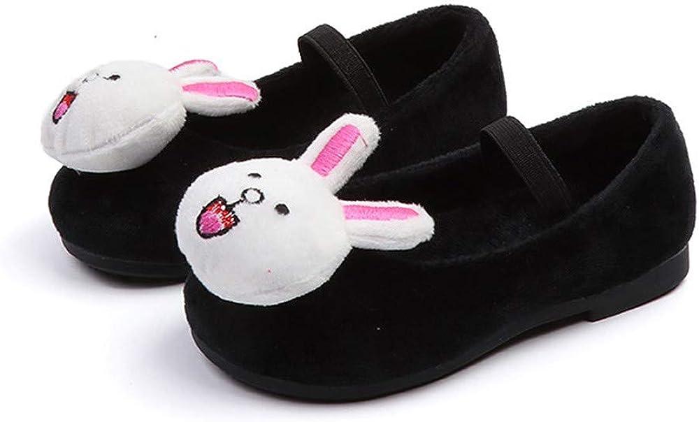 Girls Cartoon 3D Duck//Rabbit Flock Mary Jane Flats Sweet Princess Dress Shoes for Toddler Kids