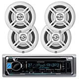 "KMR-D365BT Kenwood Marine Boat Bluetooth CD MP3 Player USB iPod iPhone Input Pandora AM/FM Receiver 4 x 6.5"" Waterproof Speakers, Audio Kit (White)"