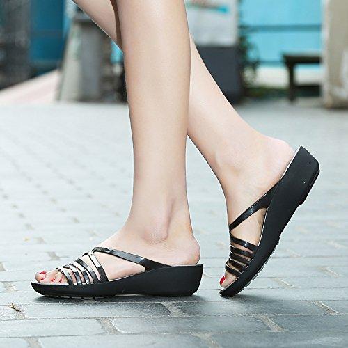 Enllerviid Donne Open Toe Jelly Sandali Con Zeppa Sandali Fashion Platform Slip On Scarpe Domenica Nero