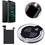 LG V10 Wireless Charger Charging Pad + Receiver Sticker, Lookatool® Qi Wireless Charger Charging Pad + Receiver Sticker Support NFC for LG V10 (Black)