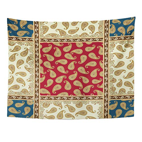 (Semtomn Beige Persian Patchwork Pattern Paisley Ribbons and Laces Brown Home Decor Wall Hanging Taperstries)