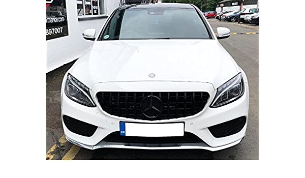 W205 C Class grille AMG C63 Style Matt Black WITHOUT 360 CAMERA TO JUNE 2018