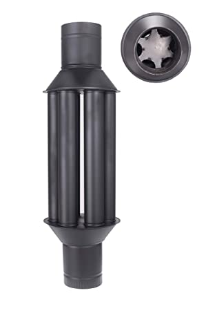 Intercambiador de calor de chimenea Vulkan/intercambiador de aire caliente, enfriador gas de escape negro, diámetro 150 mm, 6 tubos, válvula: Amazon.es: ...