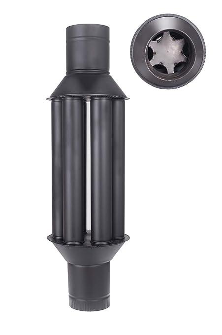 Intercambiador de calor de chimenea Vulkan/intercambiador de aire caliente, enfriador gas de escape negro, diámetro 150 mm, 6 tubos, válvula: Amazon.es: ...