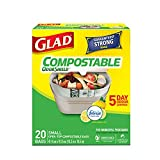 Glad Glad 100% compostable odourshield easy-tie small bags, lemon scent, 20 bags 20 count