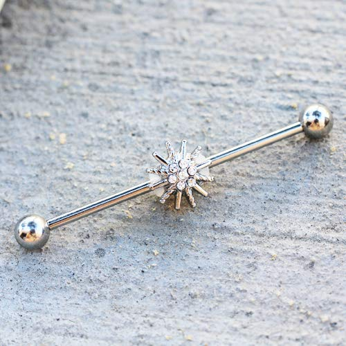 Pierced Owl Sparkling Crystal Star Industrial Barbell in 316L Stainless Steel