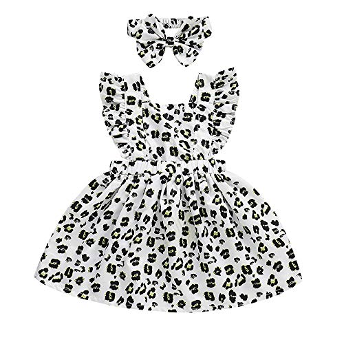 YOUNGER TREE Toddler Little Girls Ruffle Sleeve Leopard Print A-line Dress Party Casual Dresses Summer Sundress with Headband (Leopard, 2-3 Years) -