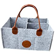 Baby Diaper Caddy Organizer - Nursery Storage Bin Changing Table Diaper Change | Baby Shower Gift Basket for Boy Girl | Large Portable Car Organizer for Wipe Toy | Newborn Registry Must Have (Leather)