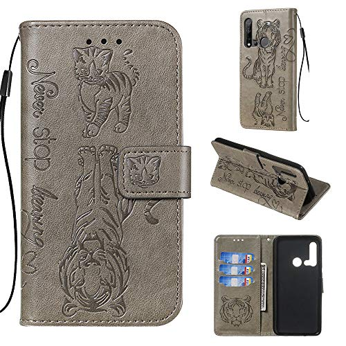 Shinyzone Leather Case for Huawei P20 lite 2019,Motivational Quote Design Wallet Case,3D Printed Embossed Tiger Cat Pattern with Lanyard Card Slots and Kickstand Anti Shock Cover,Gray