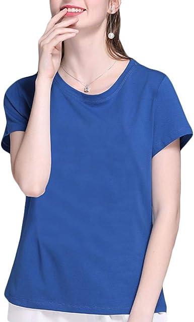 Mujeres Llanura Camisetas básicas de algodón Camisetas de ...
