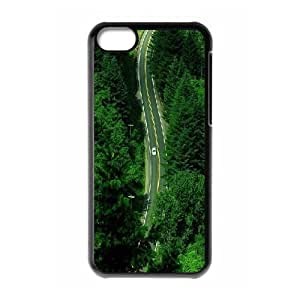 iPhone 5C Case,Forest Car Road Hard Shell Back Case for Black iPhone 5C Okaycosama372680