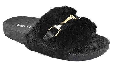 665002d69015 SODA Women Slip on Soft Fur Fuzzy Sandals Slides Slippers Flip Flops Metal  Black 5