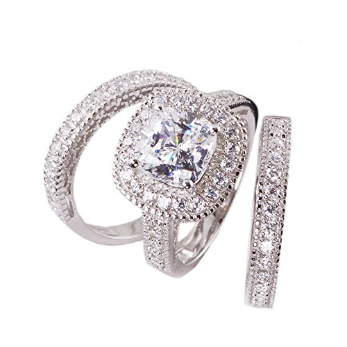 His & Hers 4pc Matching Halo Cushion Cut Cz Bridal Engagement Wedding Ring Set .925 Sterling Silver Size 5-13 (His 9 Her 8) by Sunee Jewelry And Gift (Image #1)