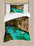 Ambesonne Nature Duvet Cover Set Twin Size, Small Yacht Floating in Sea Majorca Spain Rocky Hills Forest Trees Scenic View, Decorative 2 Piece Bedding Set with 1 Pillow Sham, Green Aqua Blue