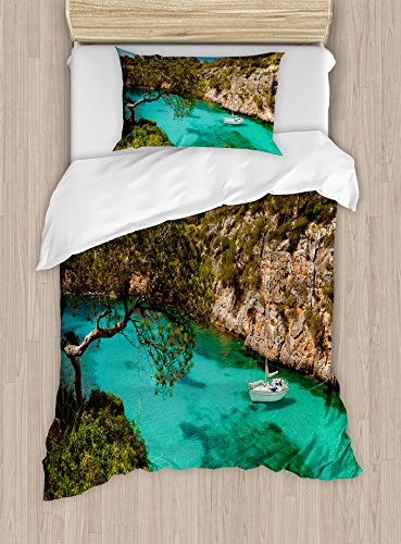 Ambesonne Nature Duvet Cover Set Twin Size, Small Yacht Floating in Sea Majorca Spain Rocky Hills Forest Trees Scenic View, Decorative 2 Piece Bedding Set with 1 Pillow Sham, Green Aqua Blue by Ambesonne