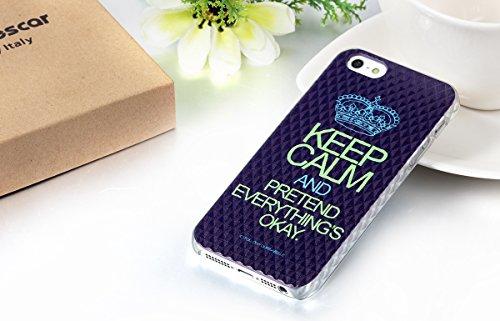 """JewelryWe """"Keep calm and pretend everything's okay"""" Krone Handy Case Schutzhülle Tasche Hülle Rückenschutzhülle für Apple iPhone 5/5S Schwarz"""