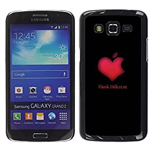 Samsung Galaxy Grand 2 II / SM-G7102 / SM-G7105, Radio-Star - Cáscara Funda Case Caso De Plástico (Think Different Apple Heart)