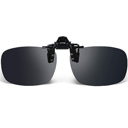 959a09e25de7 Amazon.com  Besgoods Black Grey Polarized Clip-on Sunglasses Flip up ...