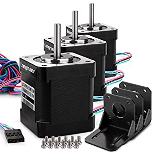 Stepper Motor, Longruner 3 Packs Nema 17 Stepper Motor 1.7A 0.59 Nm 84oz.in 48mm Body w/1m Cable & Connector for 3D Printer/CNC with Motor Mounting Bracket and 36mm M3 Screws from Longruner