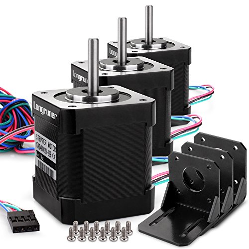 Stepper Motor, Longruner 3 Packs Nema 17 Stepper Motor 1.7A 0.59 Nm 84oz.in 48mm Body w/ 1m Cable & Connector for 3D Printer/CNC with Motor Mounting Bracket and 36mm M3 - Encoder Bracket