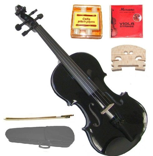 GRACE 15 inch Black Student Viola with Case, Bow+2 Sets Merano Brand Strings+2 Bridges+Pitch Pipe+Rosin by Merano
