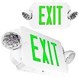 eTopLighting 2 Packs of LED Green Exit sign Emergency Light Combo with Battery Back-Up, EL2BG-2