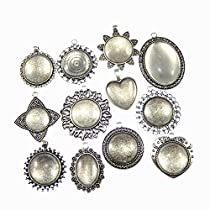 GraceAngie 12 Sets Mixed Antiqued Silver Setting Tray Pendant with Glass Cabochons for Jewelry Making