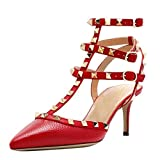 Lutalica Women Studded Sandals Pointed Toe Ankle Straps Kitten Heel Shoes Red Lines Size 9 US
